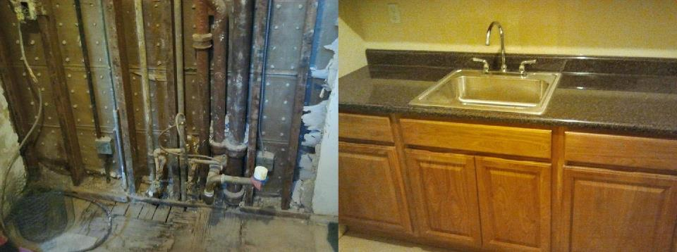 Old drywall torn out and new sink and cabinets installed