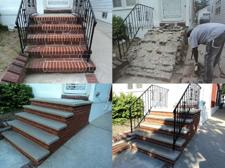 Tear out and replacement of front steps in concrete