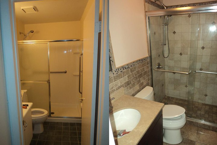 Complete bathroom remodel, new walk in shower, walls, toilet, and sink/counter