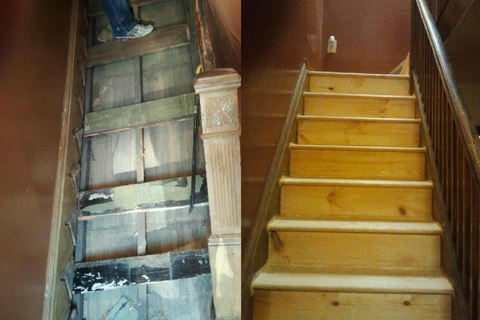 Tear out and replacing a new stair case